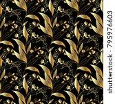 gold floral 3d seamless pattern.... | Shutterstock .eps vector #795976603