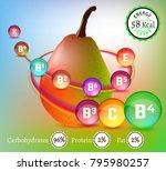 pear vitamine infographic.... | Shutterstock .eps vector #795980257