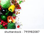 set of fresh vegetables on a... | Shutterstock . vector #795982087