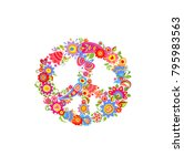 peace flower symbol with funny... | Shutterstock .eps vector #795983563
