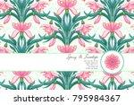 vector card. pink snowdrop...   Shutterstock .eps vector #795984367