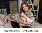 fashionable young woman in a... | Shutterstock . vector #795985093