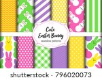 cute set of easter seamless... | Shutterstock .eps vector #796020073