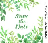 floral save the date card with... | Shutterstock .eps vector #796020757