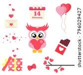 cartoon cute lovely owl set... | Shutterstock .eps vector #796029427