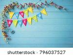 happy birthday party background ... | Shutterstock . vector #796037527