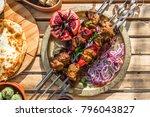 shish kebab or shashlik ... | Shutterstock . vector #796043827