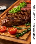 grilled black angus steak with... | Shutterstock . vector #796046107