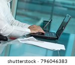 saudi man hands typing on... | Shutterstock . vector #796046383