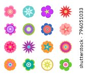 set of flat spring flower icons ... | Shutterstock .eps vector #796051033