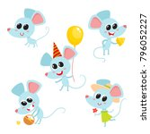 vector set of cartoon funny... | Shutterstock .eps vector #796052227