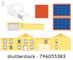 papercraft model of a house... | Shutterstock .eps vector #796055383