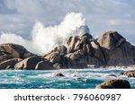 impressive waves crashing on... | Shutterstock . vector #796060987