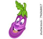 cartoon eggplant character.... | Shutterstock .eps vector #796068817