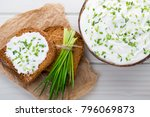bowl of cream cheese with green ... | Shutterstock . vector #796069873