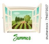 summer farm panorama. outdoor... | Shutterstock .eps vector #796072027