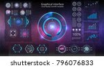 hud background outer space.... | Shutterstock .eps vector #796076833
