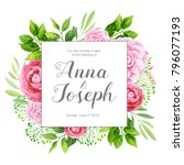 wedding invitation with... | Shutterstock .eps vector #796077193