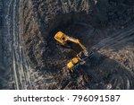 aerial drone view of excavator...   Shutterstock . vector #796091587
