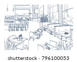 freehand sketch of furnished... | Shutterstock .eps vector #796100053