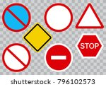 set of road signs on... | Shutterstock .eps vector #796102573