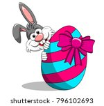 cute rabbit or bunny peek a boo ... | Shutterstock .eps vector #796102693