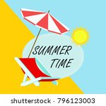 summer time in beach sea shore... | Shutterstock .eps vector #796123003