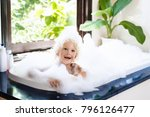 little child taking bubble bath ... | Shutterstock . vector #796126477