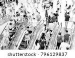 motion escalators at the modern ... | Shutterstock . vector #796129837