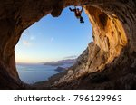 young man lead climbing on... | Shutterstock . vector #796129963