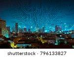 digital circuit line on blue... | Shutterstock . vector #796133827