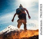 woman athlete runs on a dirty... | Shutterstock . vector #796139323