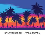 evening on the beach with palm... | Shutterstock .eps vector #796150957
