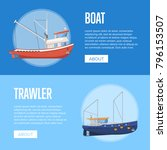 fishing company flyers with... | Shutterstock .eps vector #796153507
