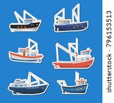 fishing boats side view... | Shutterstock .eps vector #796153513