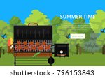 summer time poster with grilled ... | Shutterstock .eps vector #796153843