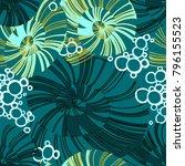 pinstripe sea shell. curl... | Shutterstock .eps vector #796155523
