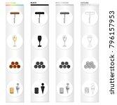 corkscrew  a glass of wine ... | Shutterstock .eps vector #796157953