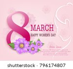 pink of 8 march greeting card... | Shutterstock .eps vector #796174807