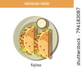 delicious fajitas with garlic... | Shutterstock .eps vector #796183087
