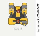 line flat color vector diver... | Shutterstock .eps vector #796183477