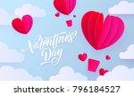 valentines day paper art... | Shutterstock .eps vector #796184527