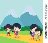 hiking time illustration | Shutterstock .eps vector #796211953