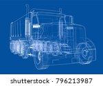 european truck outlined vector... | Shutterstock .eps vector #796213987
