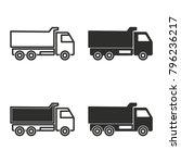 truck vector icons set. black... | Shutterstock .eps vector #796236217