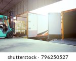 forklift with pallet shipment... | Shutterstock . vector #796250527