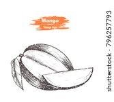 vector background with mango.... | Shutterstock .eps vector #796257793