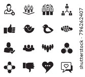solid black vector icon set  ... | Shutterstock .eps vector #796262407