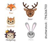 set of isolated forest animals. ... | Shutterstock .eps vector #796266703