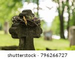 Old Cemetery Cross With Wreath